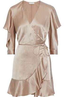 Mason by Michelle Mason Ruffle-trimmed Cutout Silk Mini Wrap Dress