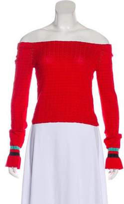 3.1 Phillip Lim Off-The-Shoulder Cropped Knit Sweater
