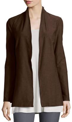 Eileen Fisher Long Washable Crepe Shawl-Collar Jacket, Petite