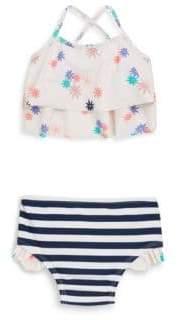Jessica Simpson Little Girl's Two-Piece Sunburst Floral Swim Top and Stripe Bottom Set