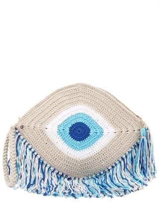 My Beachy Side - Elexis Evil Eye Fringed Clutch Bag - Womens - Blue Multi