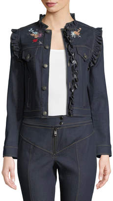 Cinq à Sept Lina Button-Front Embroidered Denim Jacket