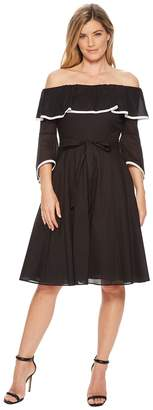 Calvin Klein Off Shoulder with Piping A-line Dress CD8G12HC Women's Dress