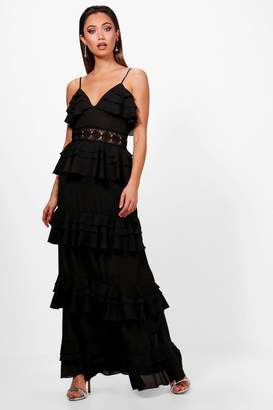 boohoo Crochet Waist Ruffle Maxi Dress