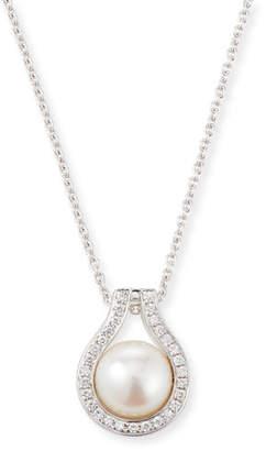 BELPEARL 18k White Gold Classic Diamond Akoya Pearl Pendant w/ Chain