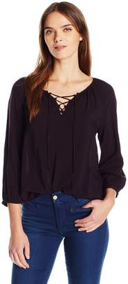 Velvet by Graham & Spencer Women's Challis Lace up Blouse