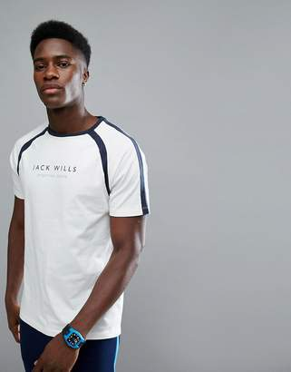 Jack Wills Sporting Goods Benstead Raglan T-Shirt In White