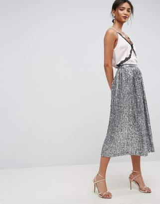 Asos Design pleated Sequin midi skirt