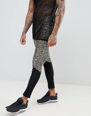 Asos DESIGN festival meggings with leopard print and mesh panel