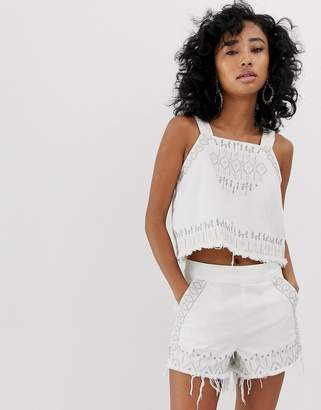 Blank NYC Snow Flake embroidered fringed hem denim cami top