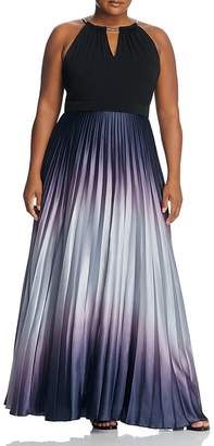 City Chic Pleated Ombré Maxi Dress