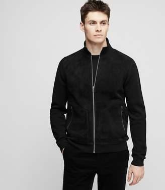 Reiss ALISTAIR Suede bomber jacket Black
