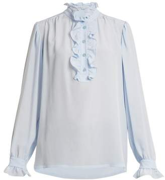 Stella McCartney Ruffled Collar Silk Crepe Blouse - Womens - Light Blue