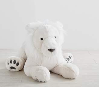 Pottery Barn Kids Sitting Jumbo Faux-Fur Plush Lion White