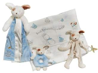 Bunnies by the Bay Swaddle, Buddy Blanket, Pacifier Holder & Teething Ring Rattle Set