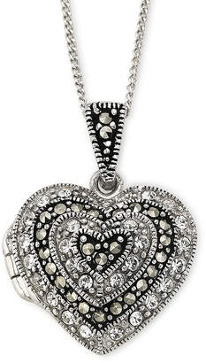 FINE JEWELRY Crystal & Marcasite Heart Locket Pendant Necklace