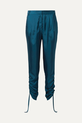 Tibi Mendini Ruched Satin-twill Tapered Pants - Teal