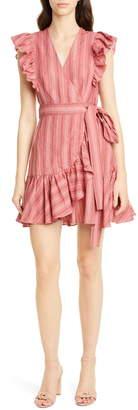 Rebecca Taylor Stripe Ruffle Sleeveless Linen Wrap Dress