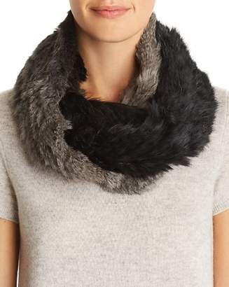 Jocelyn Ombré Knit Rabbit Fur Infinity Scarf