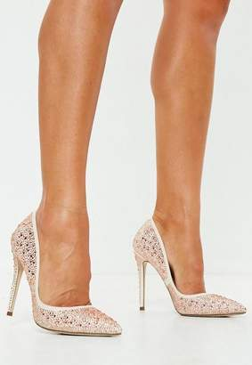 Missguided Champagne All Over Diamante Pumps