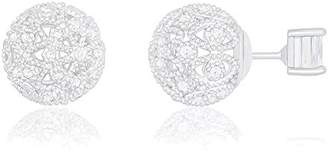 18k Gold Plated Cubic Zirconia Princess Cut Solitaire Reversible Ball Stud Earrings (0.50 carats)