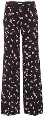 Miu Miu Printed crêpe trousers