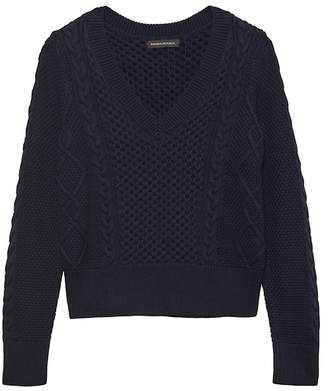 Banana Republic Cable-Knit Cropped V-Neck Sweater