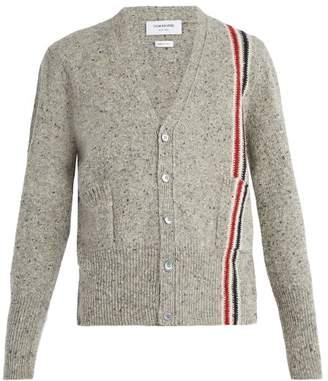 Thom Browne V Neck Stripe Detail Wool Mohair Blend Cardigan - Mens - Grey