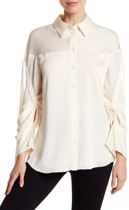 Vince Camuto Satin Tie Sleeve Button Down Blouse