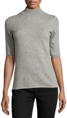 Philosophy Cashmere Half-Sleeve Mock-Neck Top, Gray $125 thestylecure.com