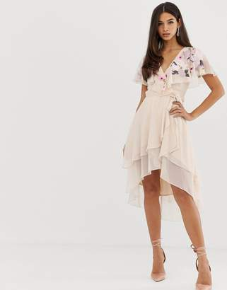 e1ee426fd7 Asos Design DESIGN midi dress with cape back and dipped hem in embroidery