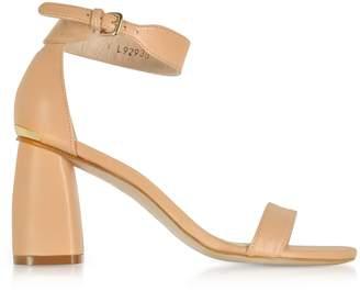 Stuart Weitzman Partlynude Nude Nappa Leather Heel Sandals 35 3va Zzjk5