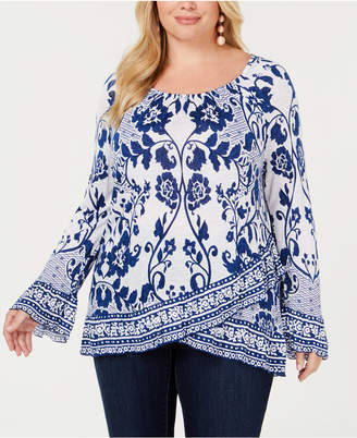 INC International Concepts I.n.c. Plus Lace-Print Bell-Sleeve Top
