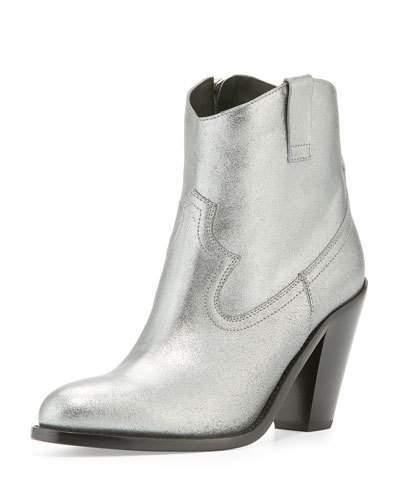 Saint LaurentSaint Laurent Cutris 80mm Western Ankle Boot, Silver