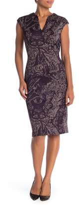 Connected Apparel Cap Sleeve Print Scuba Dress