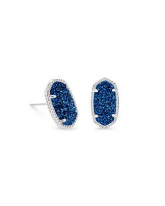 Kendra Scott Ellie Silver Stud Earrings in Blue Drusy