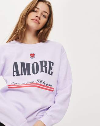 Topshop Embroidered Amore Sweat Top