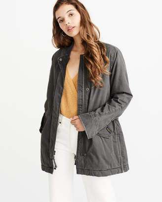 Abercrombie & Fitch Sherpa-Lined Twill Jacket