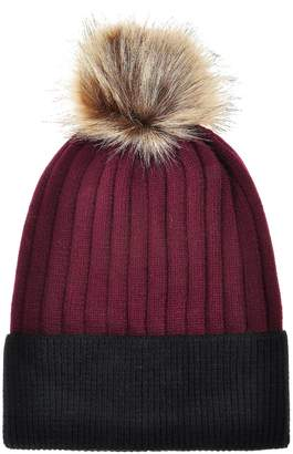 1a542e0ccff at Amazon Canada · ZLYC Women s Winter Warm Two-Tone Ribbed Knit Cuff Beanie  Hat with Faux Fur Pom