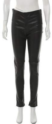 Balenciaga Mid-Rise Leather Skinny Pants