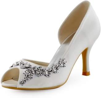 Elegantpark HP1542 Women Peep Toe Rhinestones Pumps High Heel Satin Wedding Bridal Dress Shoes US 7