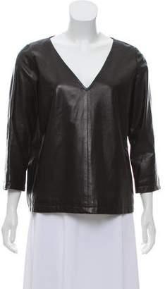 Dries Van Noten Leather V-Neck Top