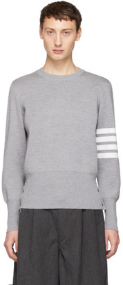 Thom Browne Grey Milano Stitch Four Bar Crewneck Sweater