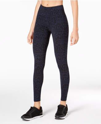 Calvin Klein Logo-Print High-Waist Leggings