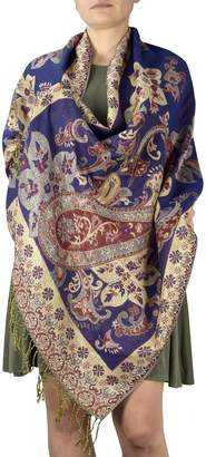 Couture Peach Floral Peacock Reversible Shimmer Layered Pashmina Wrap Shawl Scarf