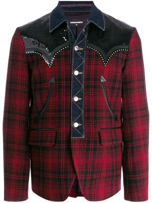 DSQUARED2 denim-trim plaid blazer