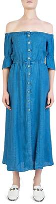 The Kooples Off-the-Shoulder Button-Down Midi Dress