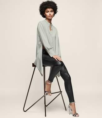 Reiss Bianca - Longline Grandad-collar Shirt in Soft Apple