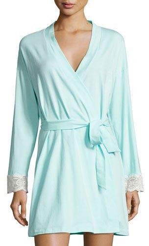 CosabellaCosabella Sonia Lace-Cuff Robe, Blue/White