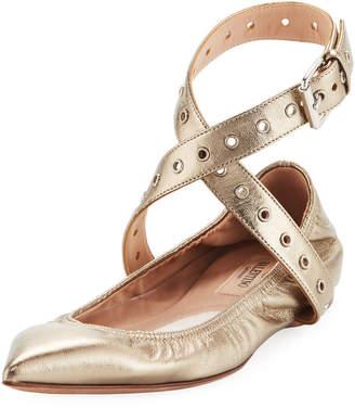 Valentino Grommet Metallic Ballerina Flat